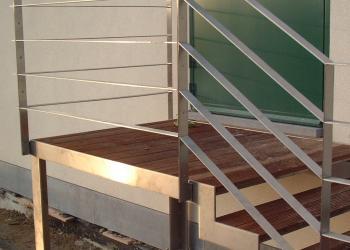 Reling met horizontale, platte profielen, in RVS