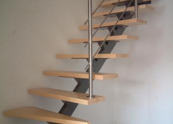 Trap met fijne Centrale trapboom in gepoedercoat staal met houten treden